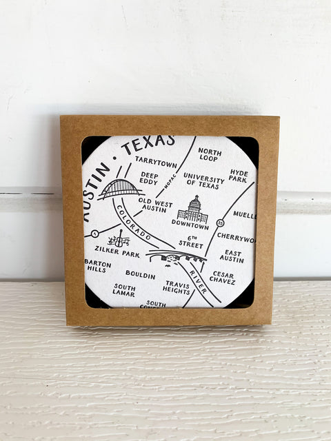 Austin Map Coasters Set