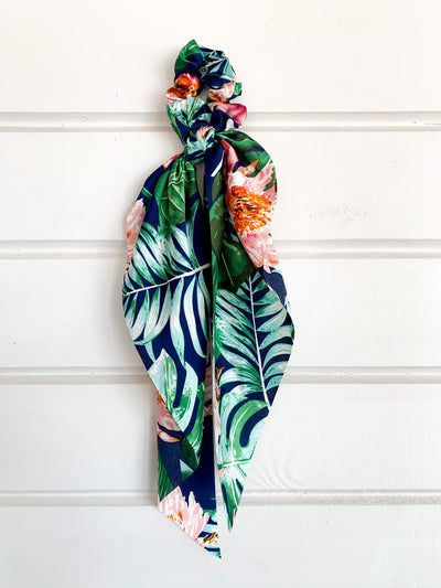 Blue Tropical Scarf Ponytail