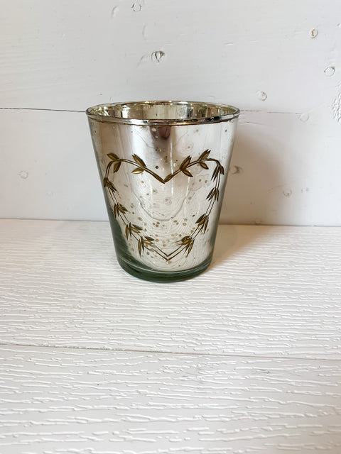 Mercury Glass Votive Holder with Heart