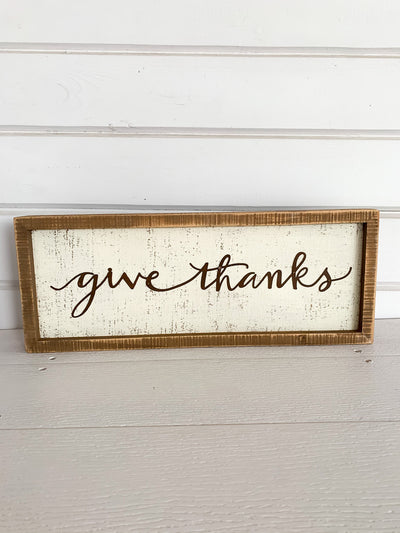 Give Thanks Metal Box Sign