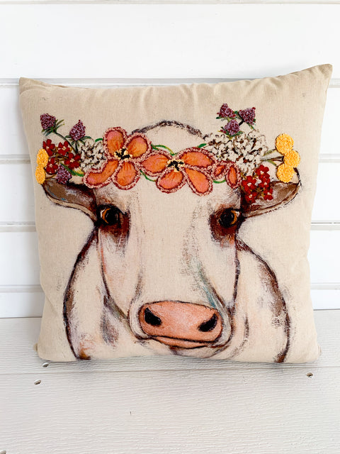 Cow with Embroidered Crown Pillow