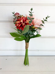 Dahlia and Eucalyptus Bouquet