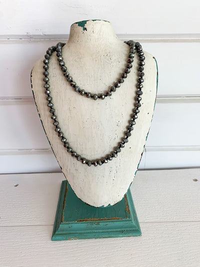 Short Crystal Bead Necklace (Multiple Colors)
