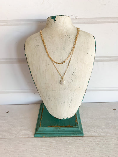 Layered Chain + Pearl Necklace