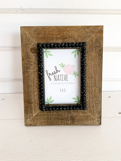 Wooden Frame with Black Beads - 4x6