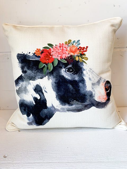 Cow With Flower Crown Pillow