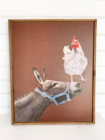 Donkey with Chicken Canvas