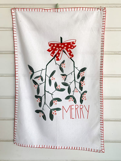 Merry Mistletoe Tea Towel