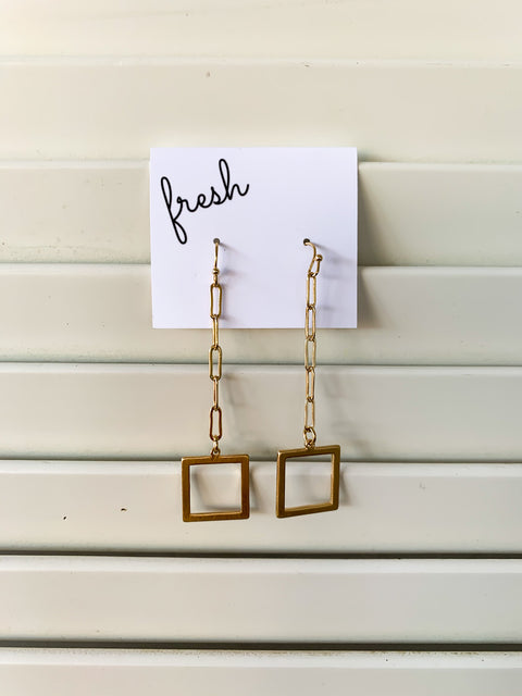 Chain Drop Square Earrings