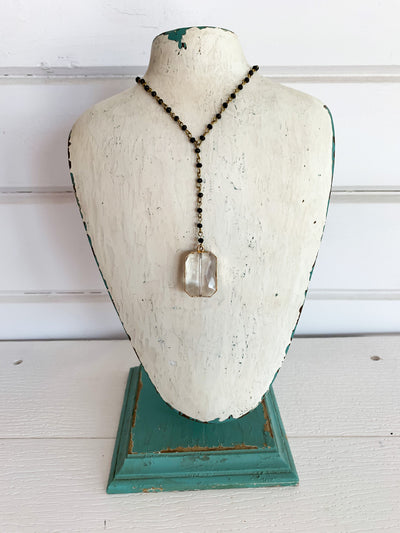 Y Beaded Necklace with Crystal- Small Beads