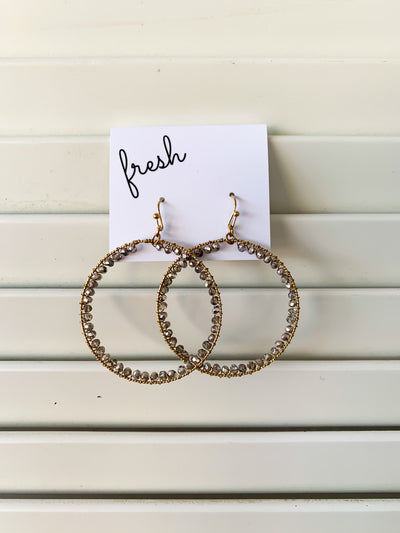 Beaded Drop Hoop Earrings - Gray