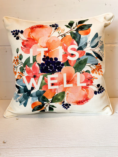 It Is Well Floral Burst Pillow