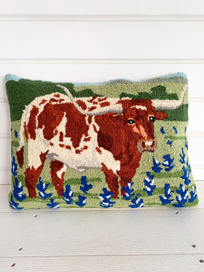 Longhorn in Bluebonnets Hook Pillow
