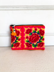 Embroidered Flower Zipper Bags (Multiple Colors)