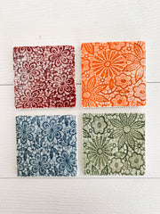 Embossed Ceramic Coaster Set