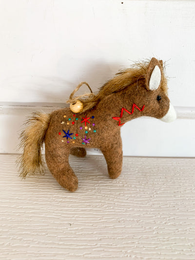 Embroidered Donkey Ornament