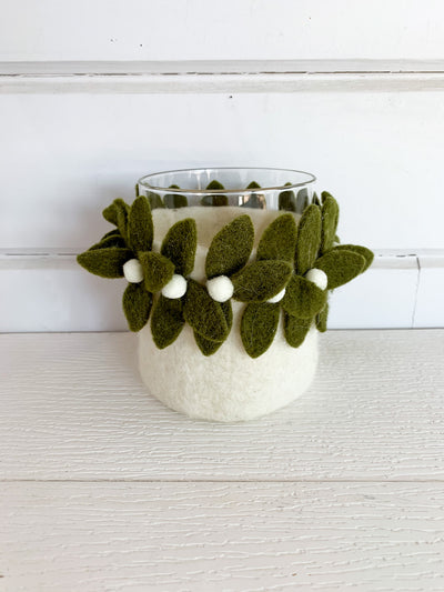 Felt Mistletoe Candle Holder