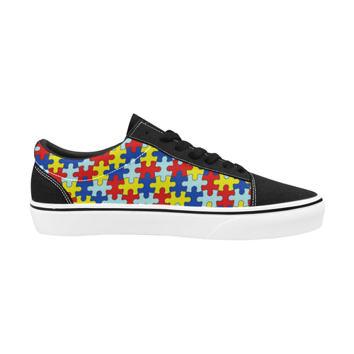 Autism Awareness Women's Low Top Skateboarding Shoes