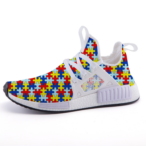 Autism Awareness Puzzle Background Print Art Lightweight fashion sneakers casual sports shoes