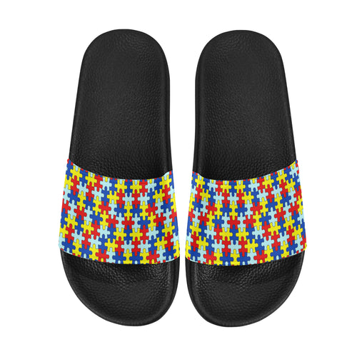 Autism Awareness Puzzle Pattern Men's Slide Sandals