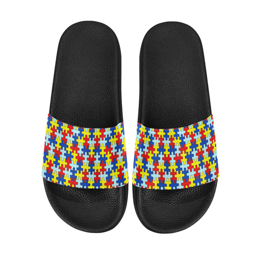 Autism Awareness Puzzle Pattern Women's Slide Sandals