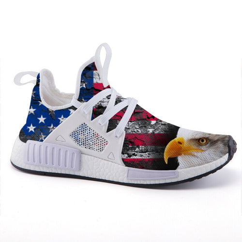 American Bald Eagle Distressed American Flag Unisex Lightweight fashion sneakers casual sports shoes