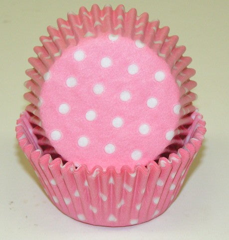 "BAKE CUP POLKA DOT LIGHT PINK 1 1/4"" W X 2"" B"