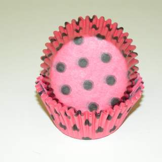 "Bake Cup HOT PINK W/ BROWN DOTS 1 1/4"" W X 2"" B"