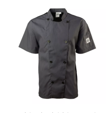 Chef Coat Mesh Gray Shrot Slv XS