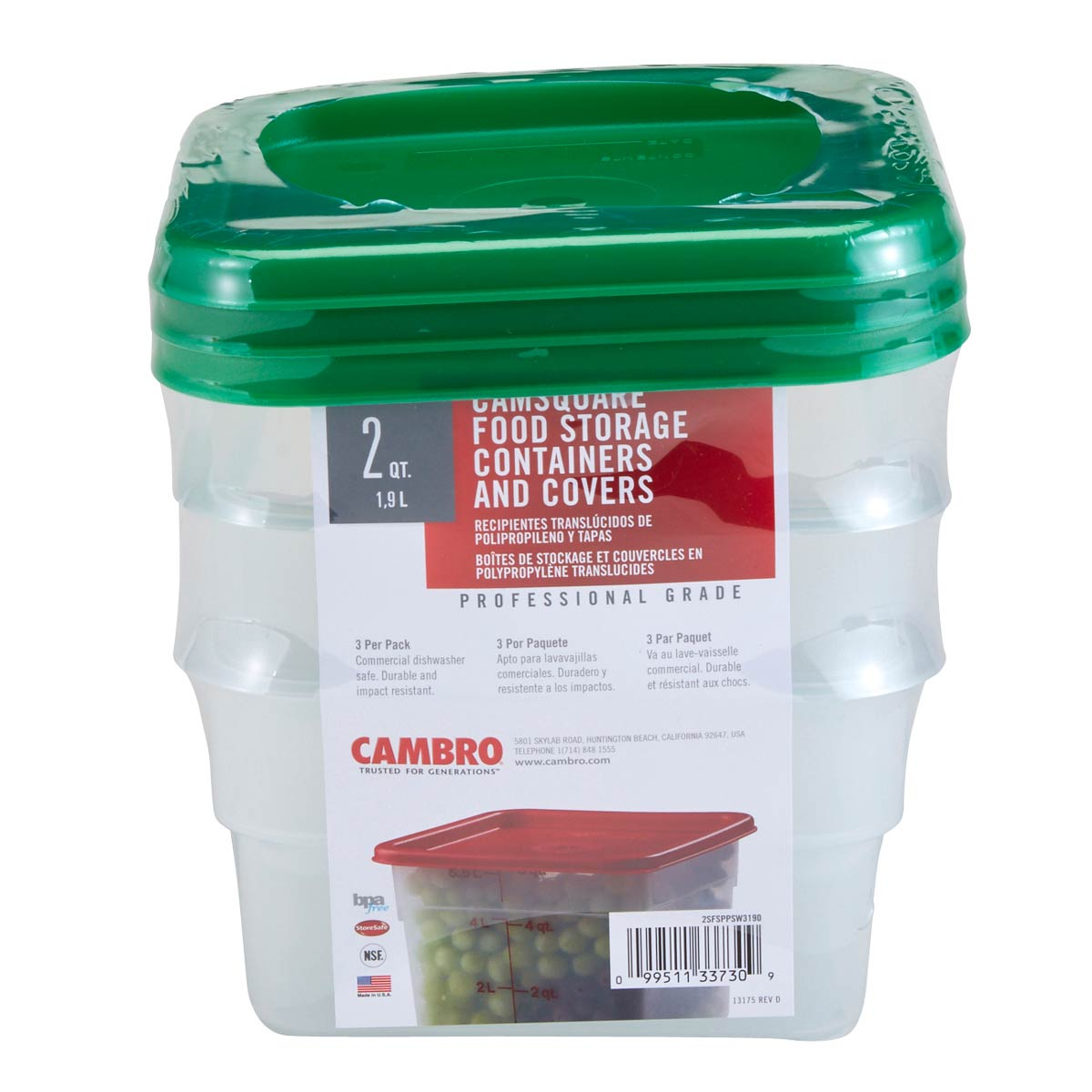 Food Square Translucent 2qt set with Lid Cambro (3)