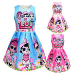 LOL Surprise! Lovely Girls Cartoon Print Princess Party Dress