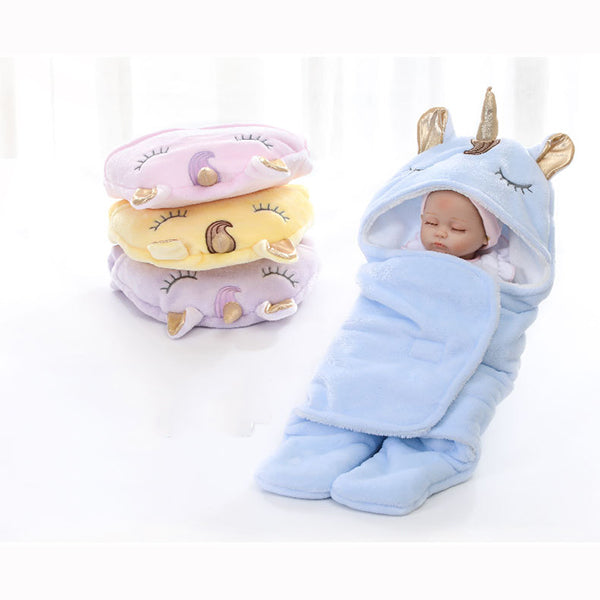 Baby's Double Flannel Thick Warm Unicorn Design Blanket