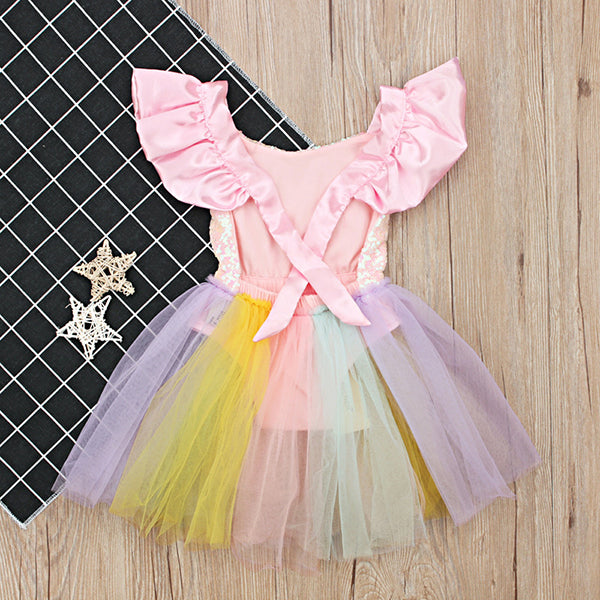 4218f388a2 Unicorn Rainbow Outfit Baby Girl Sequins Romper Dress Ruffle Tulle Skirt