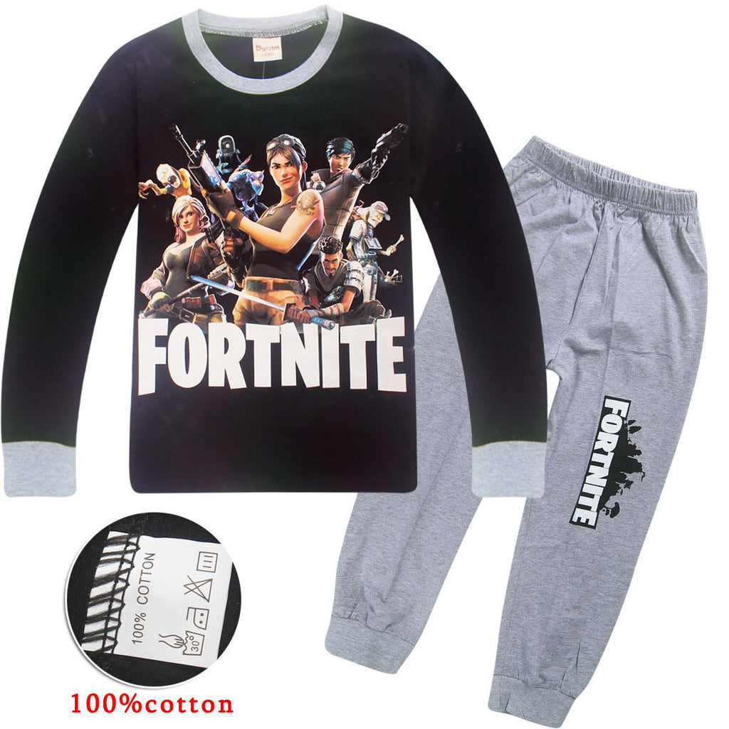 Fortnite Print Long Sleeve T-shirt and Pants For kids