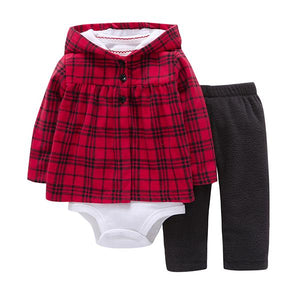 Plaid Knit Top Skirt Sets