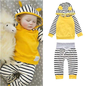 2-piece striped Hooded Long-sleeve Pullover and Pants for Baby