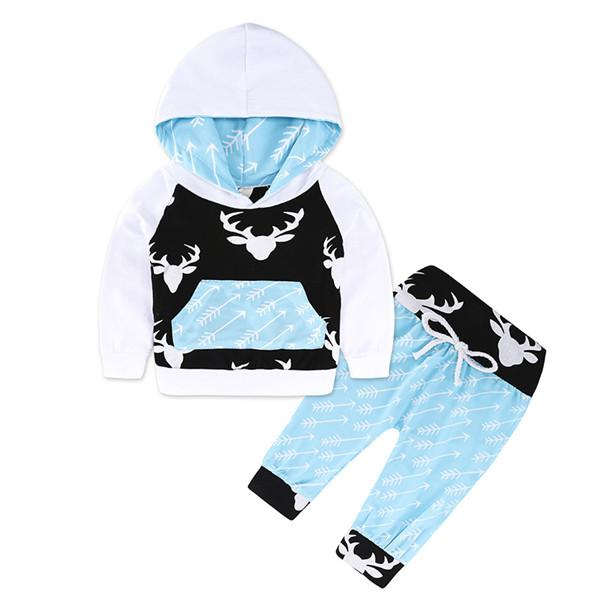 2-piece Adorable Deer Print Hooded Long-sleeve Pullover and Pants for Baby
