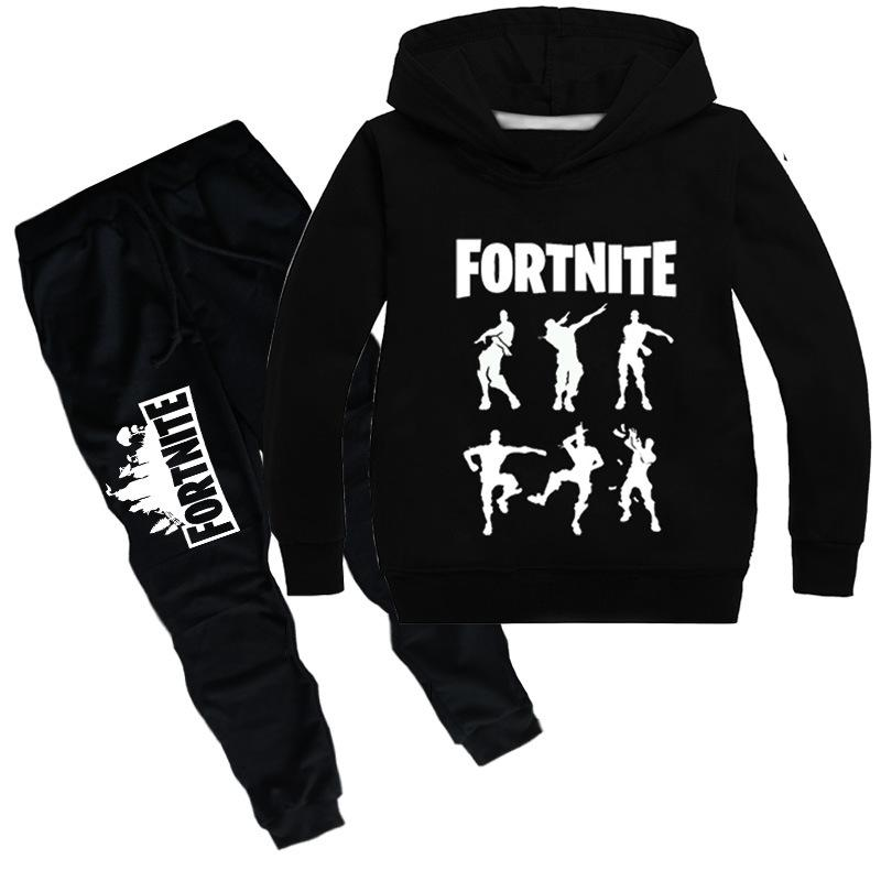 Cool Fortnite Print Long Sleeve Pullover and Pants Set for Kids
