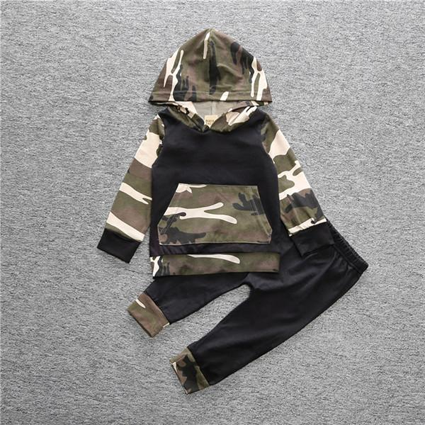 Cool Camouflage Hooded Long-sleeve Top and Pants Set for Baby Boy