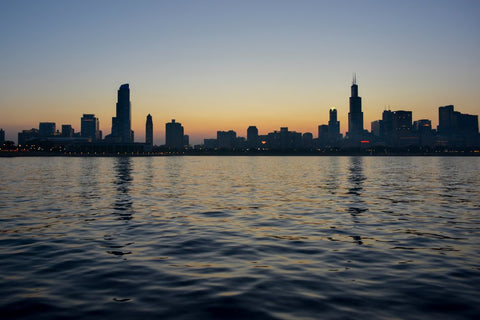 lake michigan skyline at night