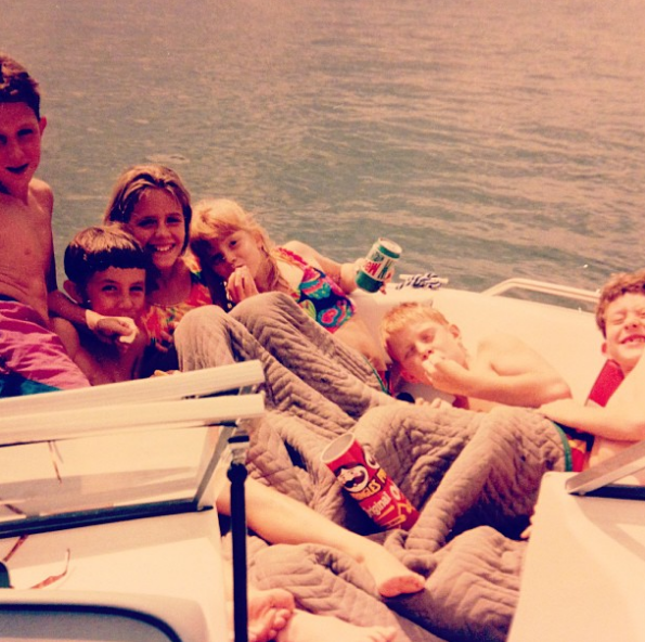 kids family on boat