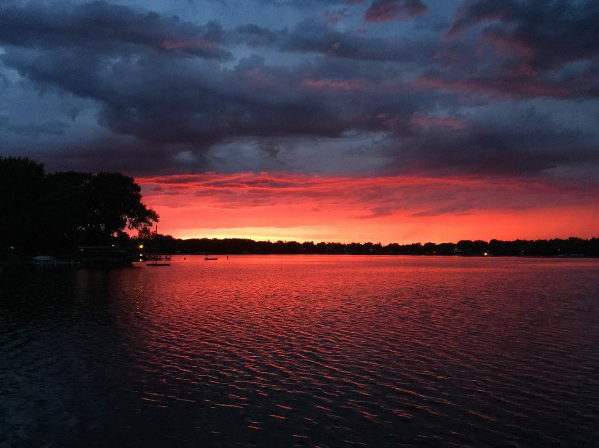 dramatic sunset over lake