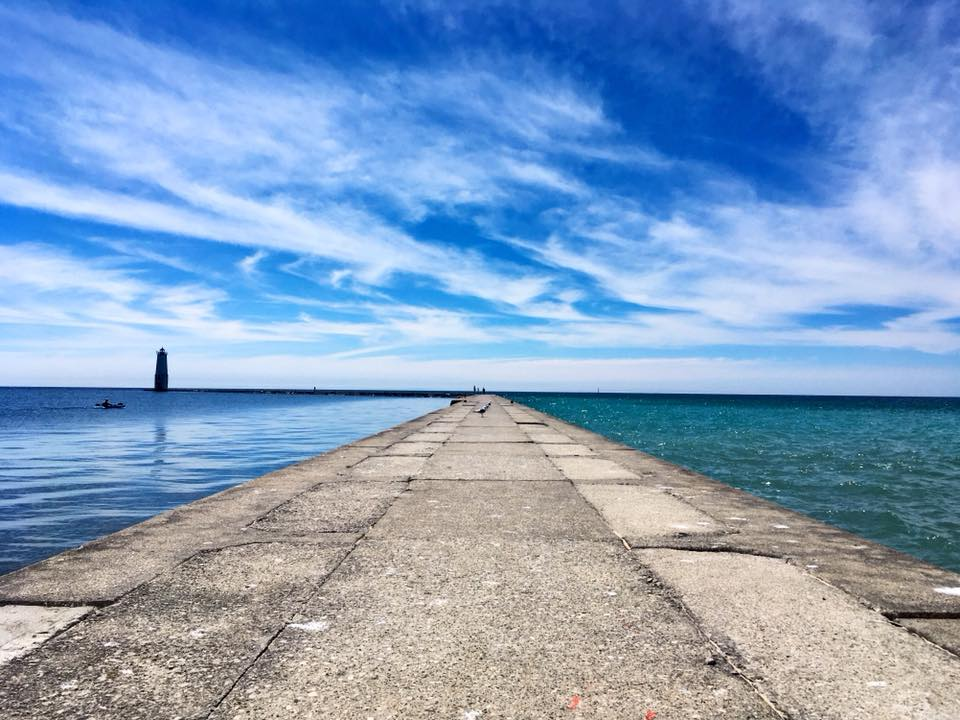 Frankfort pier on lake michigan