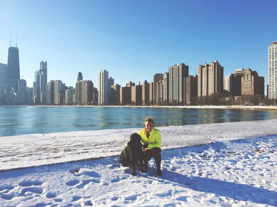 running by the lake in chicago winter
