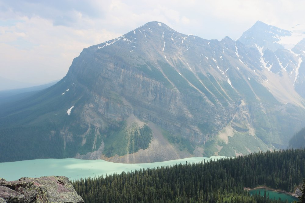 view from little beehive with lake louise and mirror lake