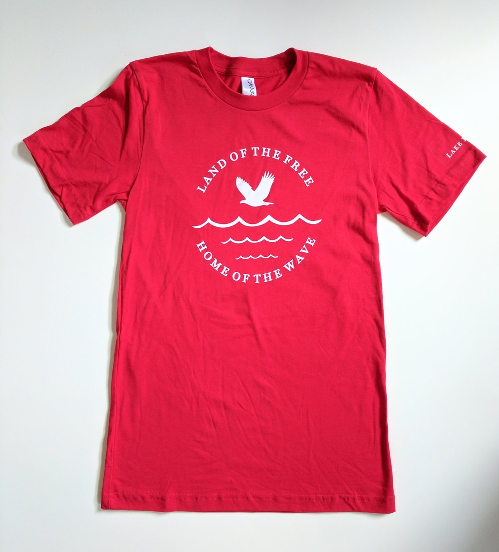 land of the free home of the wave red t shirt