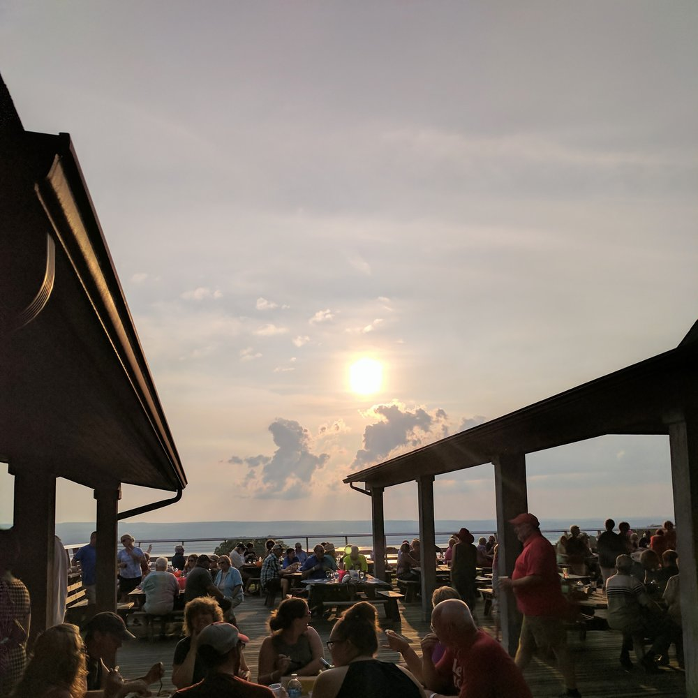 sunset at a restaurant finger lakes