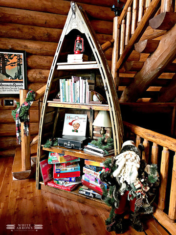 old rowboat bookshelf diy