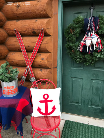 lakeside cabin front porch holiday decor