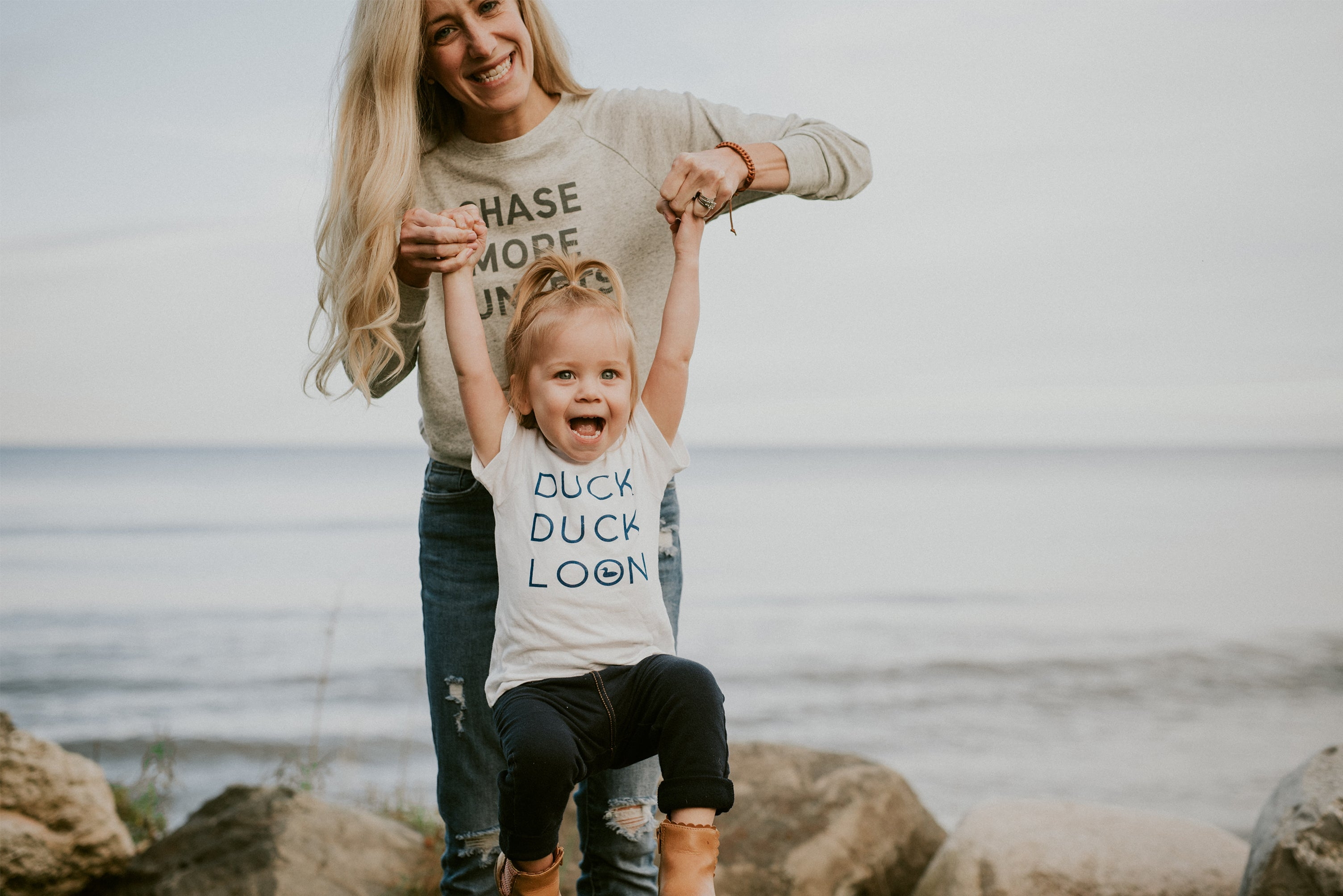 duck duck loon toddler youth tee chase more sunsets crewneck